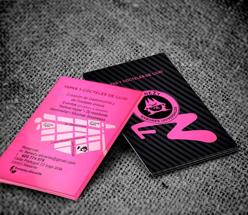 Diseño de tarjetas para gastrobar Frenezy