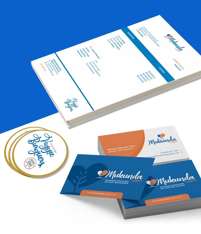 folios A4, tarjetas de visita, pegatinas de la emporesa Mukunda