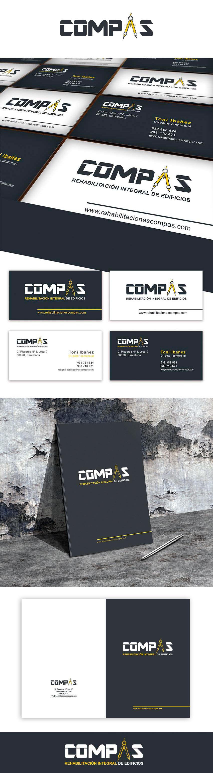 Tarjetas y carpetas corporativas para Compas – Empresa de rehabilitación integral de edificios.