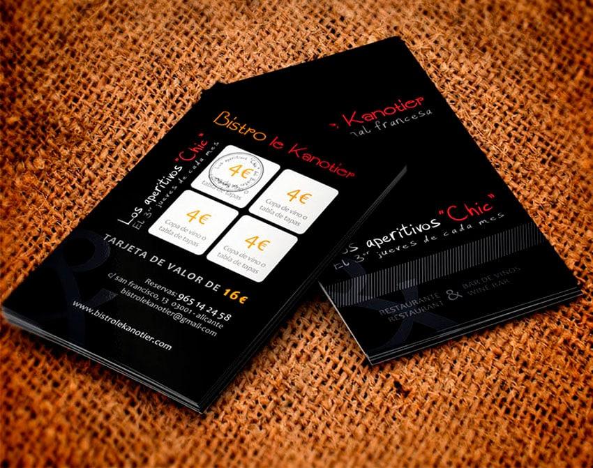 Diseño de tarjetas de fidelidad para Bitro Le Kanotier