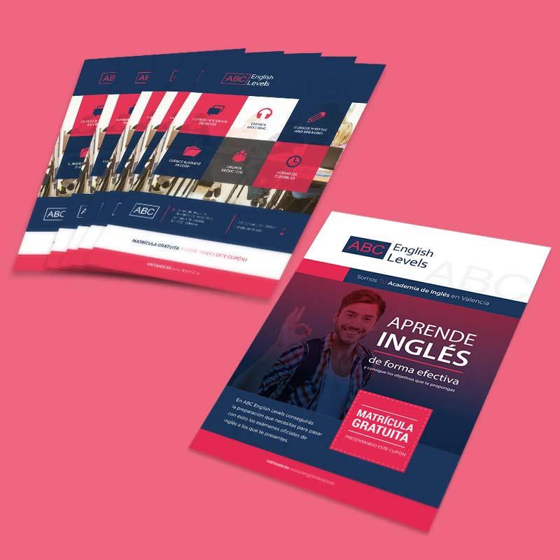 Diseño de flyer para academia de ingles online