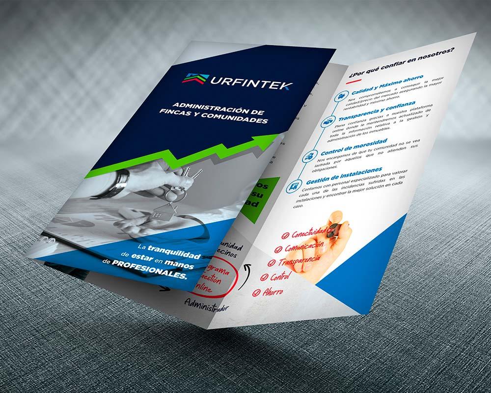 diseño de tríptico para administración de fincas Urfintek