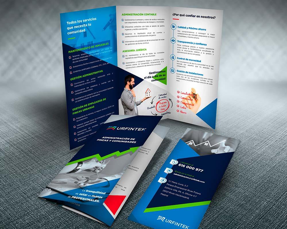 diseño de folletos para administración de comunidades de propietarios en Madrid